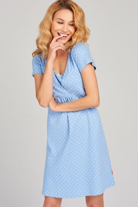 Niebieska koszula nocna do karmienia w groszki