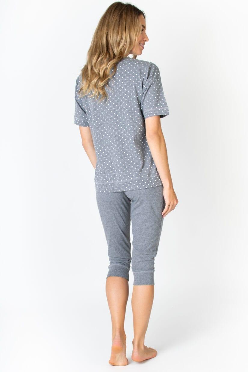 Bawełniana piżama damska Dwa Koty spodnie 3/4 (szara)