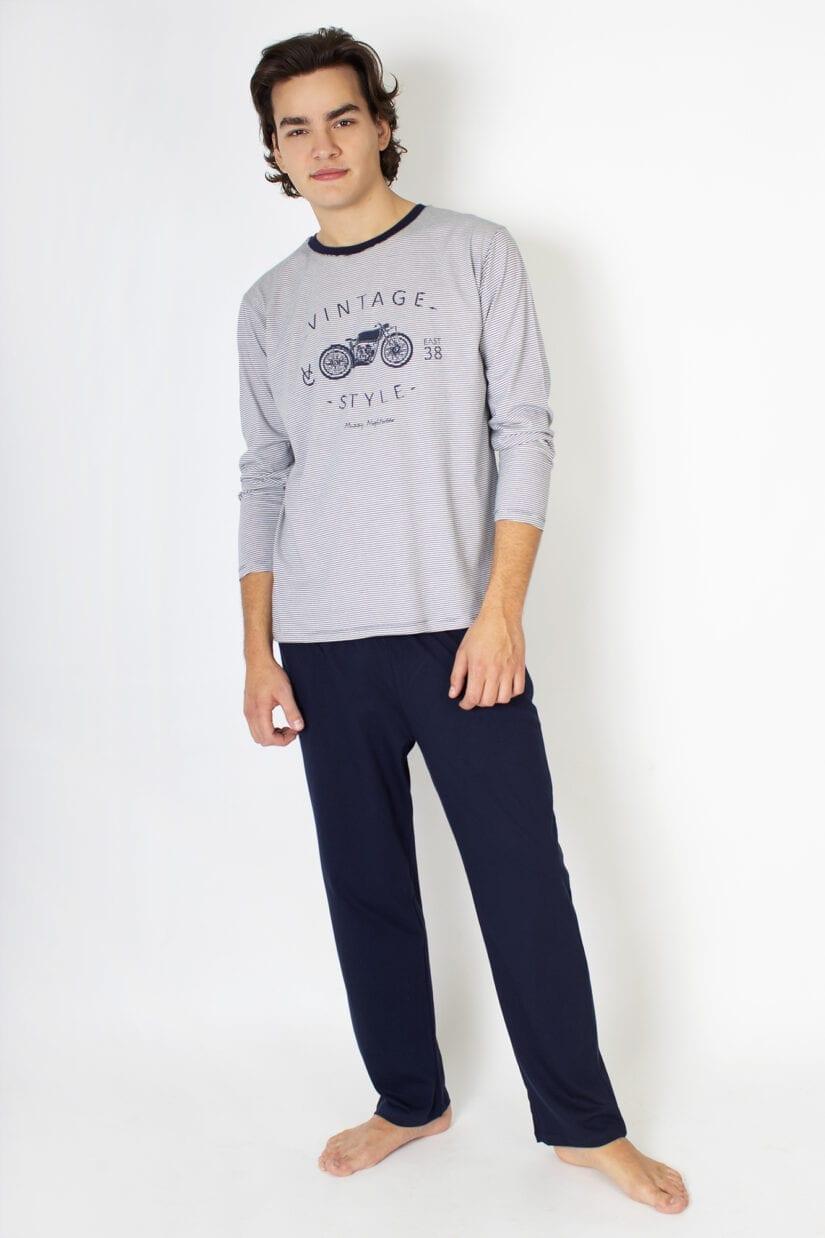 Piżama męska Vintage – bawełniana z długim rękawem i długimi spodniami
