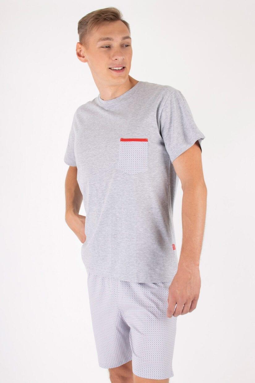 Piżama męska Kieszonka – bawełniana z krótkim rękawem i szortami