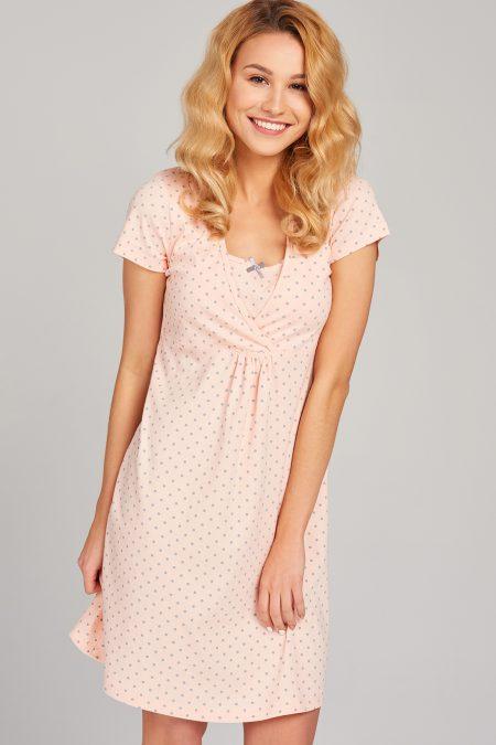 Różowa koszula nocna do karmienia w groszki