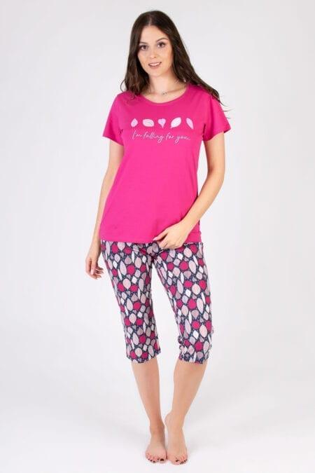 Bawełniana piżama damska Listki
