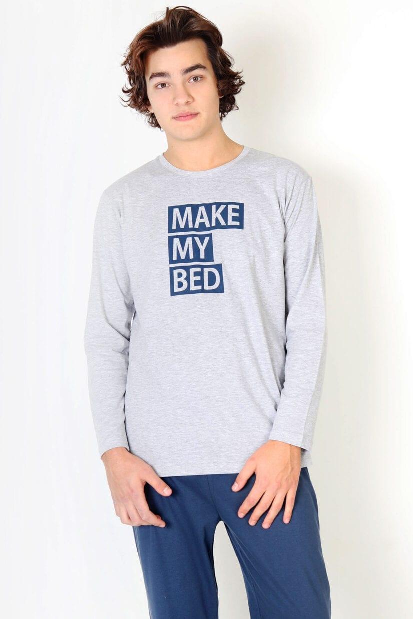 Piżama męska Make My Bed bawełniana długie rękawy i nogawki