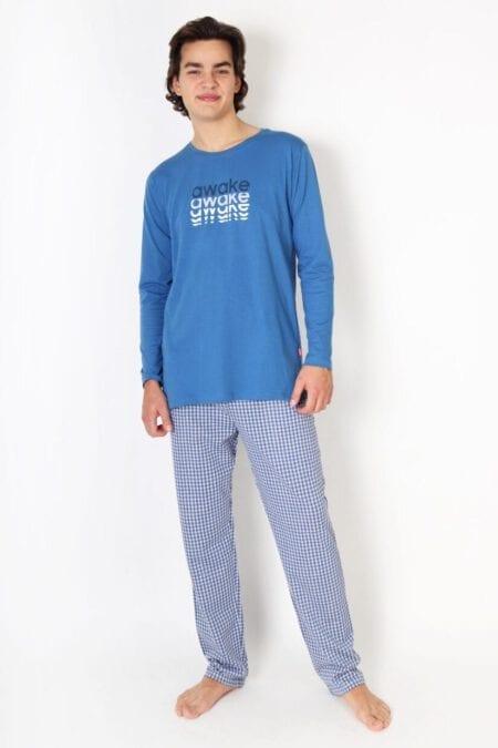 Piżama męska AWAKE bawełniana długi rękaw i spodnie