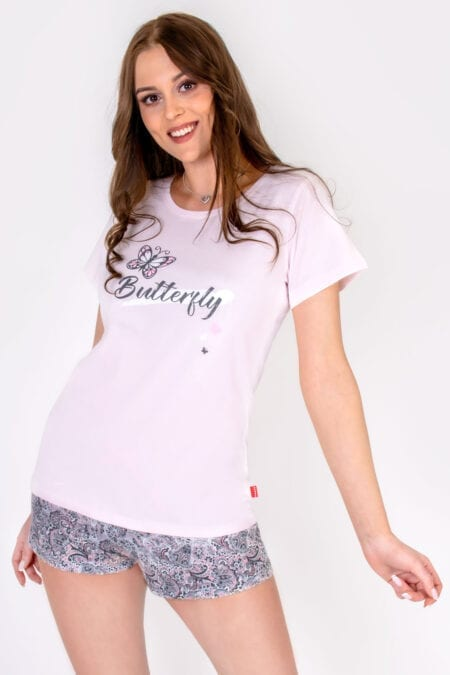 Piżama damska BUTTERFLY koszulka szorty