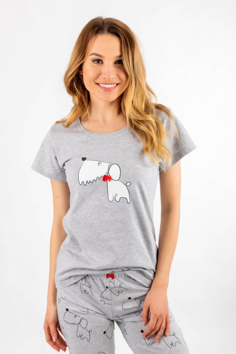 Piżama damska bawełniana Reksio T-shirt + spodnie 3/4