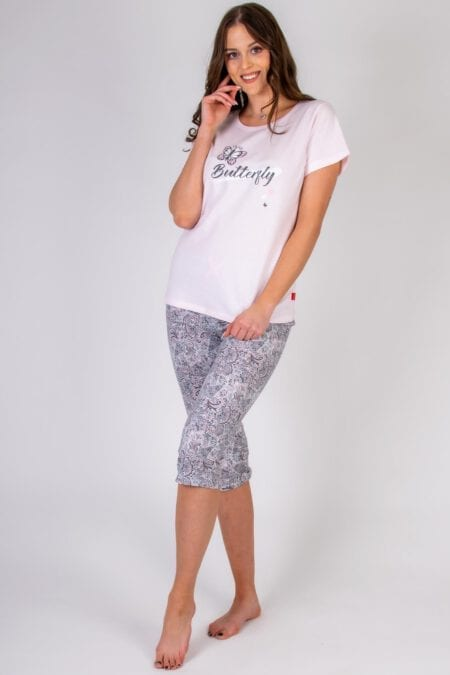 Piżama damska BUTTERFLY koszulka spodnie 3/4