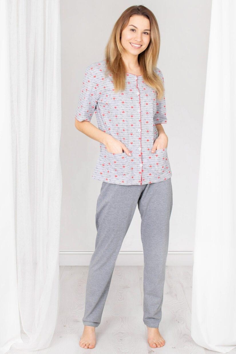 Piżama damska W SERCA rozpinana z kieszonkami długie spodnie