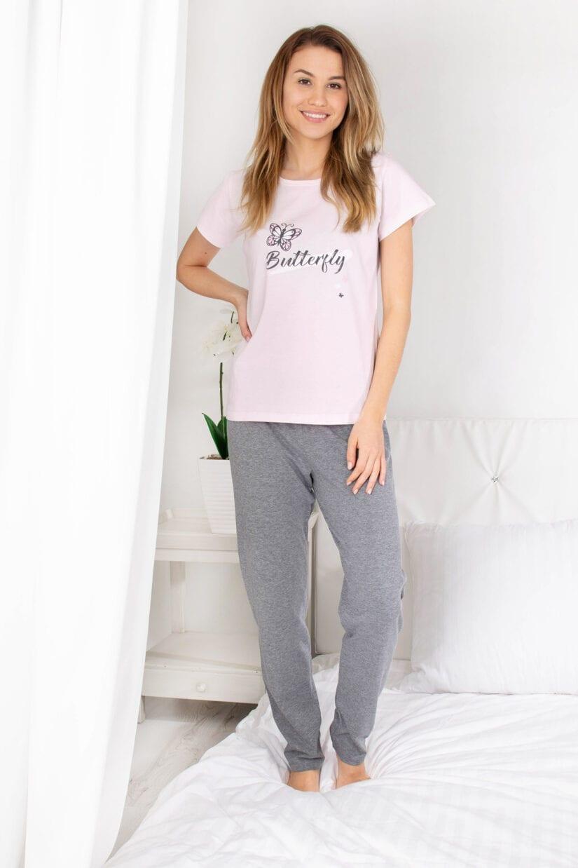 Piżama damska BUTTERFLY koszulka i długie spodnie