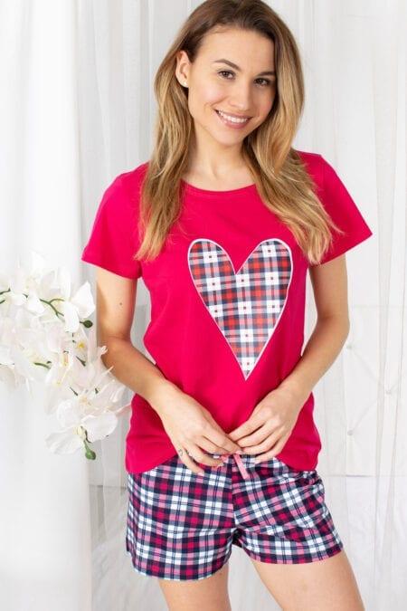 Bawełniana piżama damska HEART na krótki rękaw z szortami