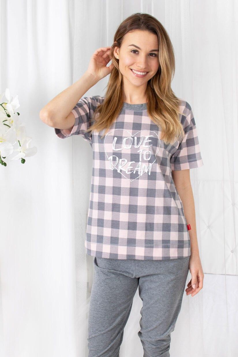 piżama damska serce na kracie