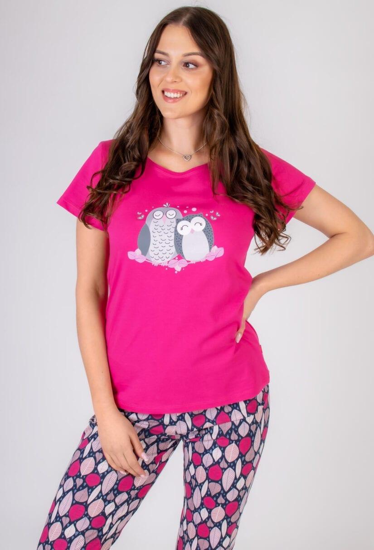 Bawełniana piżama damska SÓWKI komplet do spania