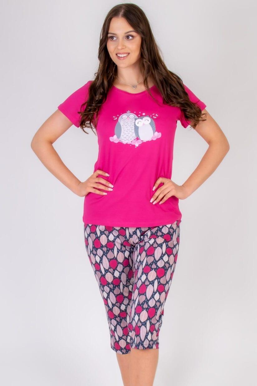 Bawełniana piżama damska SÓWKI przód