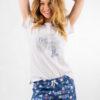 Piżama damska PARYŻANKA koszulka i szorty bawełna