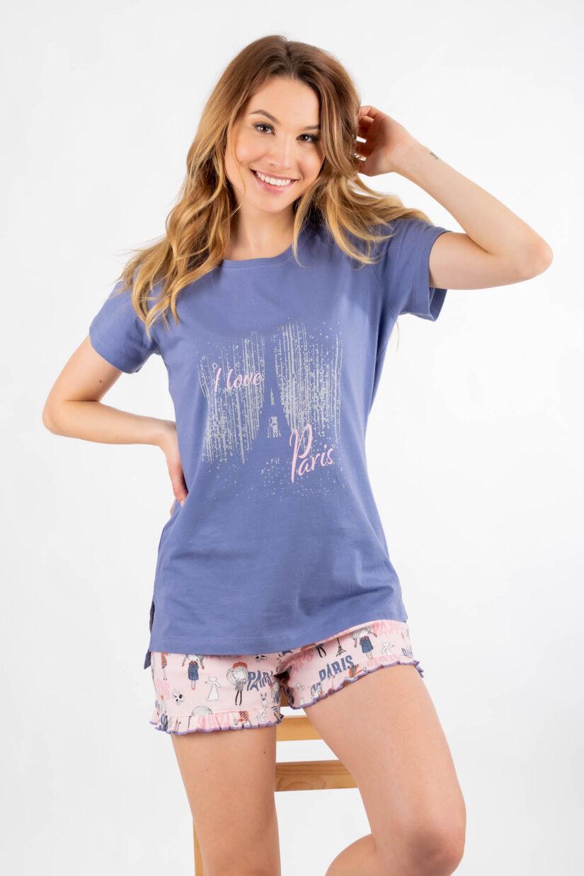 Piżama damska PARYŻANKA koszulka i szorty bawełna, fiołkowa