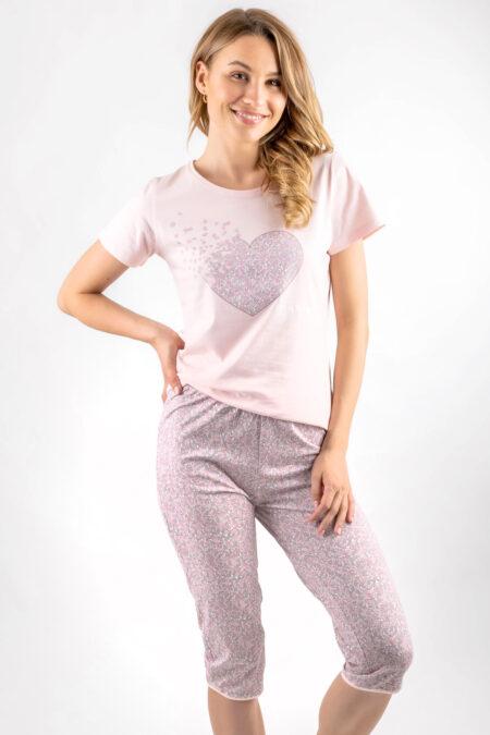 Piżama damska SERCE ŁĄKA koszulka spodnie 3/4 różowa