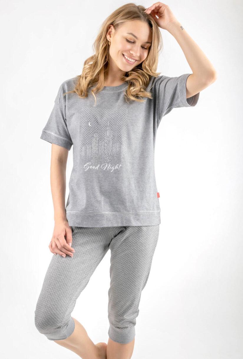 piżama good night szara spodnie 3/4