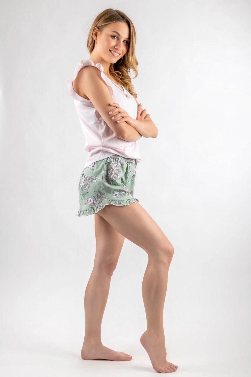 Piżama młodzieżowa FALBANKA różowo-zielona z szortami