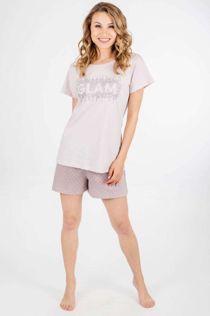 Piżama damska GLAM pudrowy róż szorty