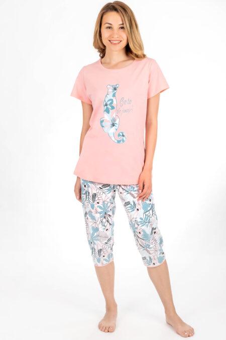wygodna piżama bawełniana kolor koszulki róż nadruk kształt pandy z wzorzystym wypełnieniem krótki rękaw, klasyczna forma spodnie za kolano wykończone lamówką