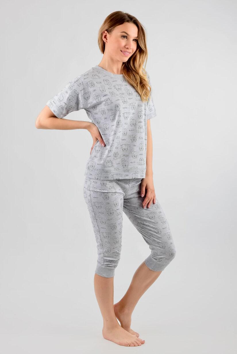 Bawełniana piżama damska KOTY spodnie 3/4 (szara)