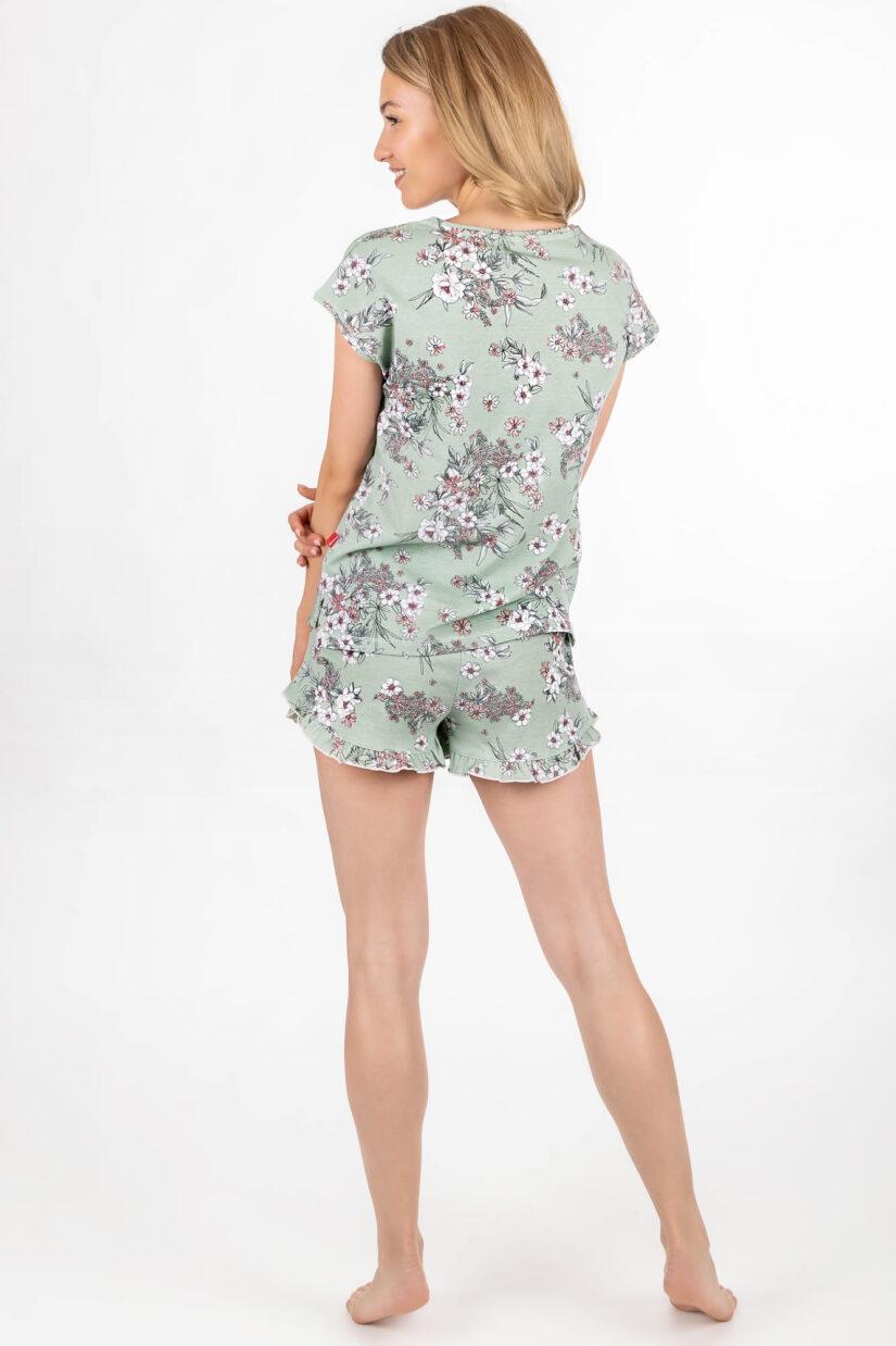 Piżama damska kwiaty na zieleni z szortami