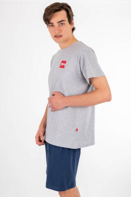 Piżama męska MUZZY szorty SZARA koszulka