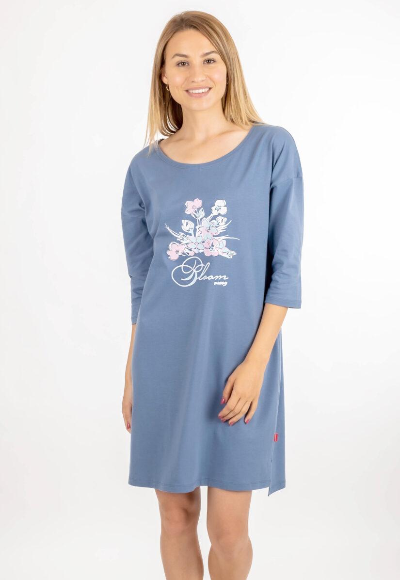 Tunika do spania oversize BLOOM niebieska wzór