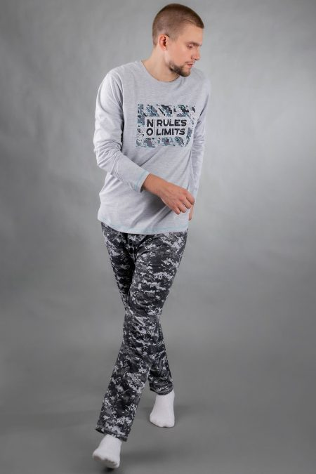 Piżama męska NO RULES długie spodnie i bluzka SZARA