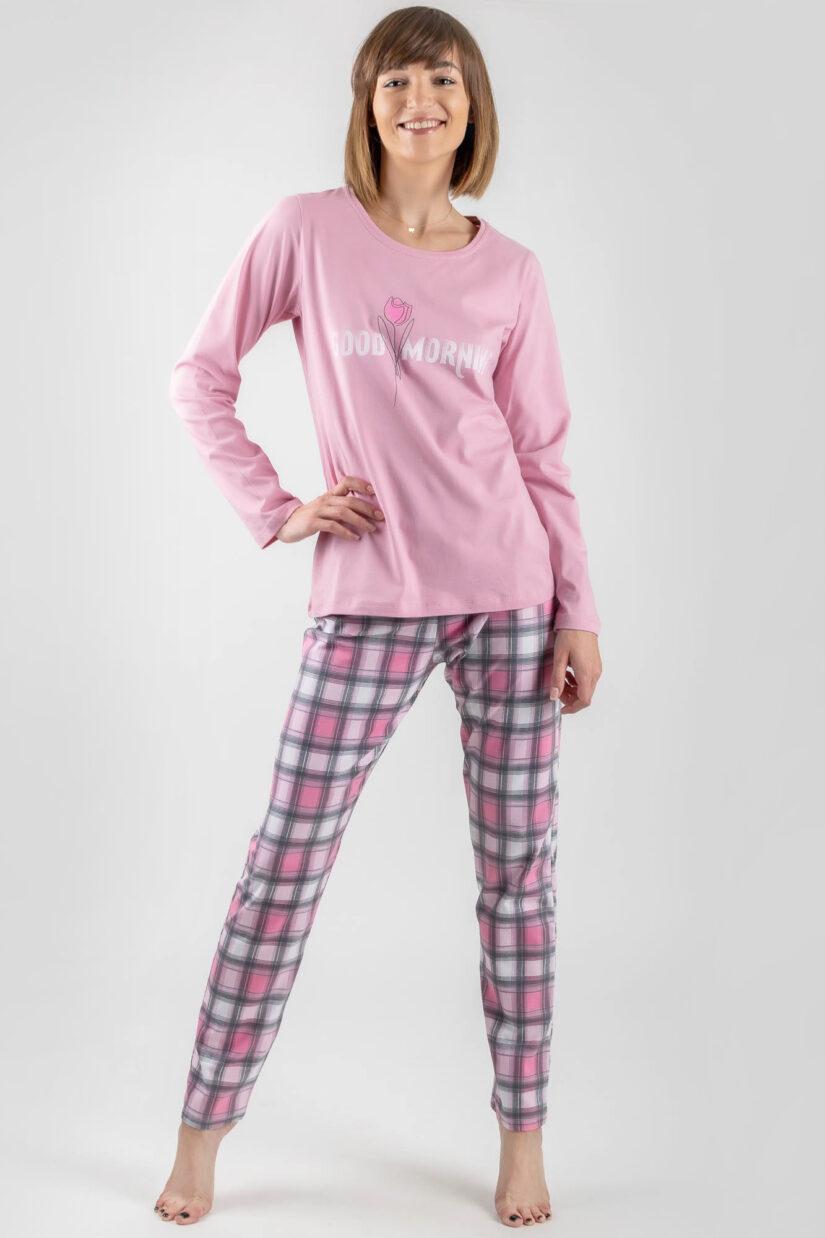 pizama damska good morning rozowa dlugi rekaw dlugie spodnie