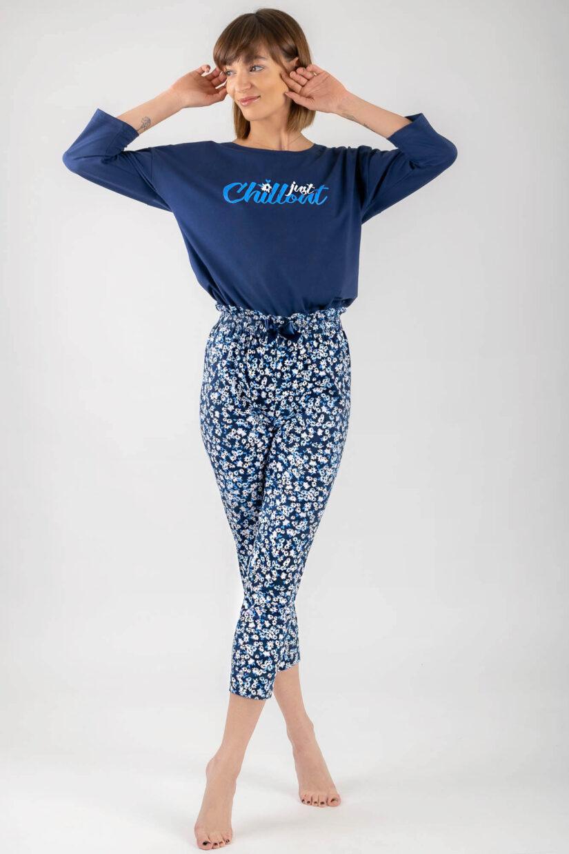 Piżama bawełniana CHILLOUT granatowa bluzka oversize spodnie ⅞