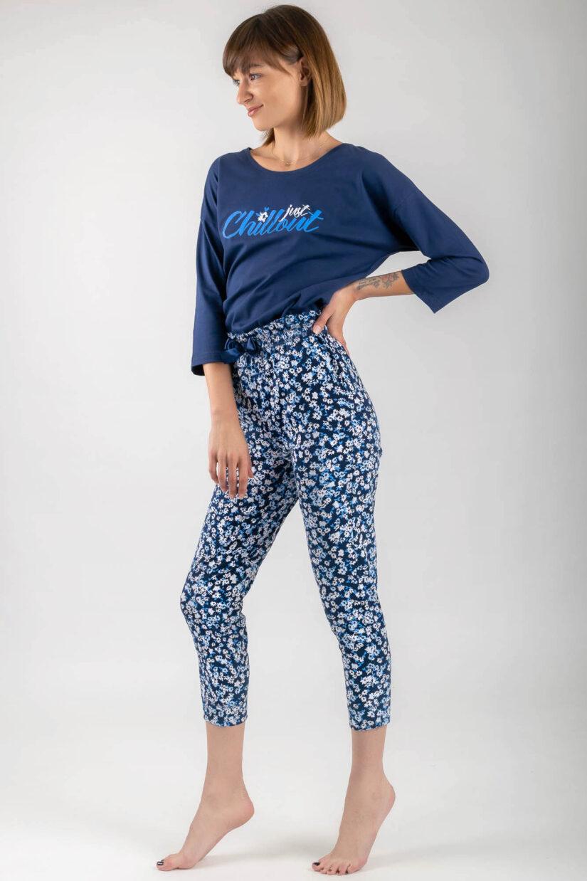 Piżama bawełniana CHILLOUT granatowa bluzka oversize spodnie ⅞ bok