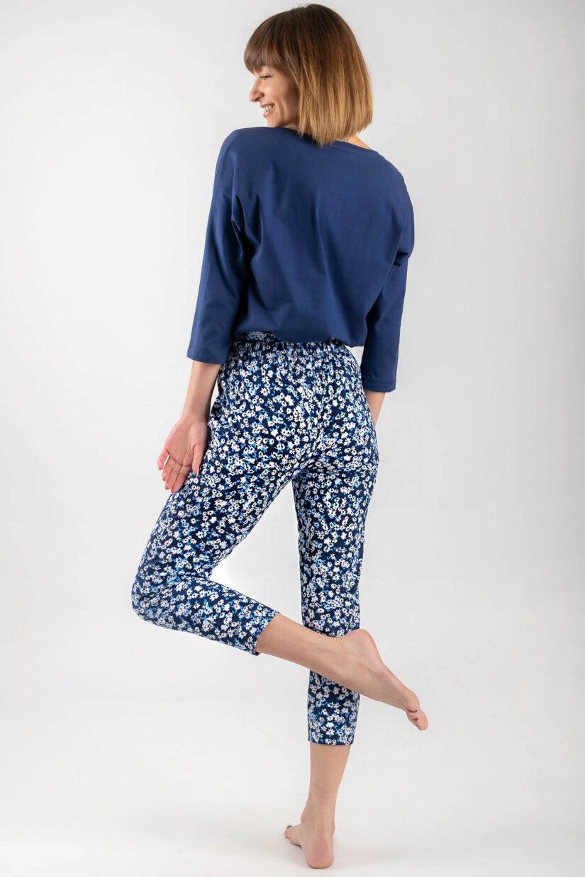 Piżama bawełniana CHILLOUT granatowa bluzka oversize spodnie ⅞ tył