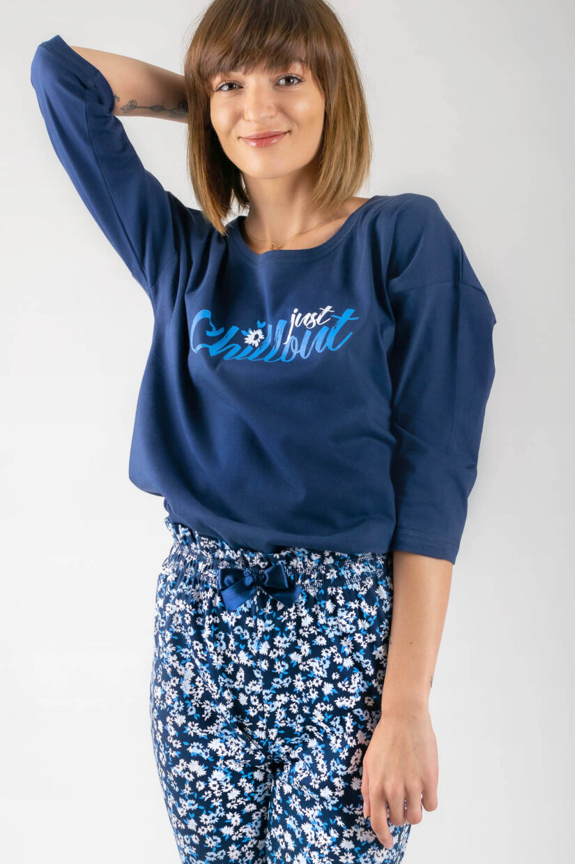 Piżama bawełniana CHILLOUT granatowa bluzka oversize spodnie ⅞ kokarda