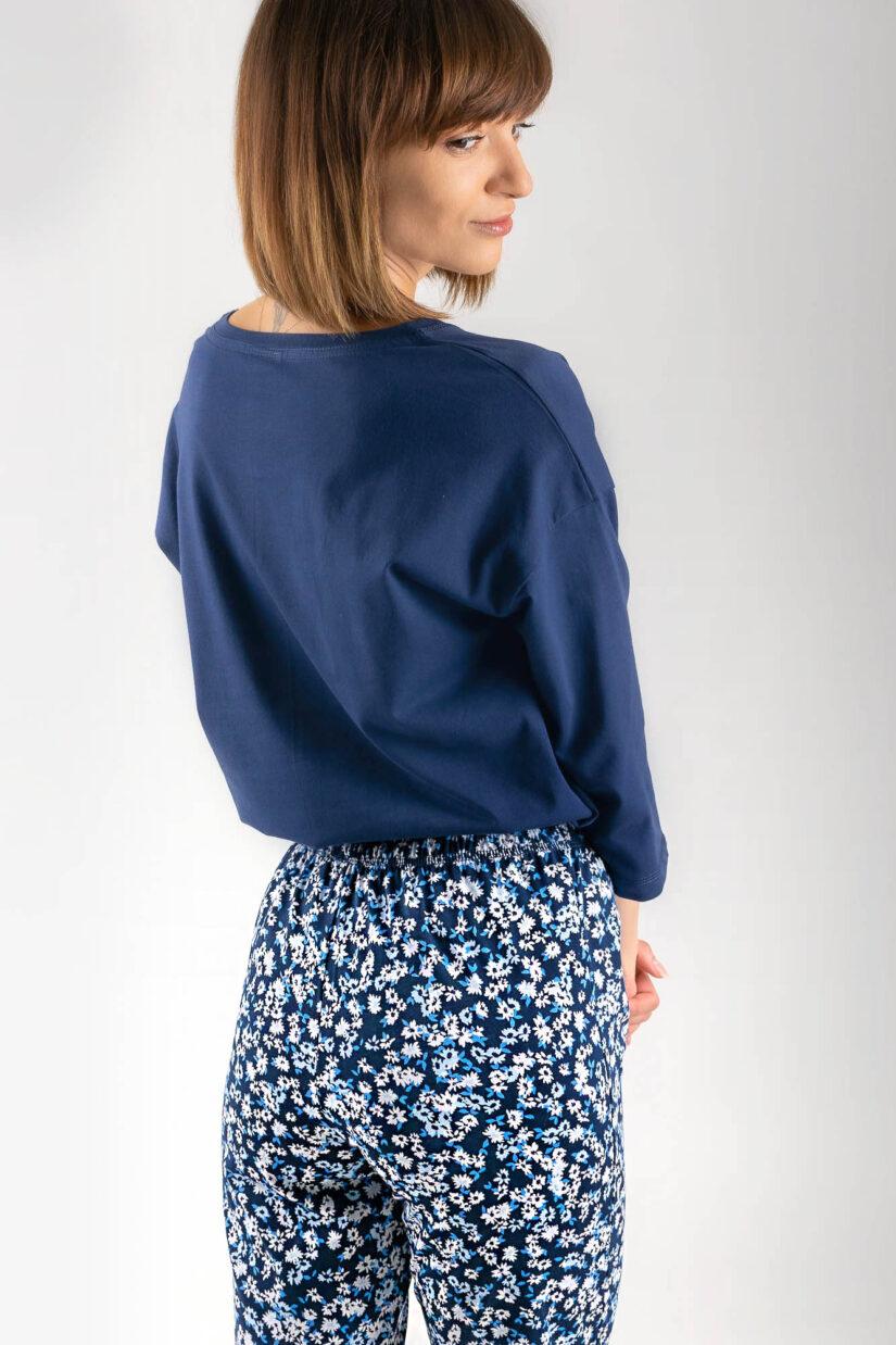 Piżama bawełniana CHILLOUT granatowa bluzka oversize spodnie ⅞ spodnie tył