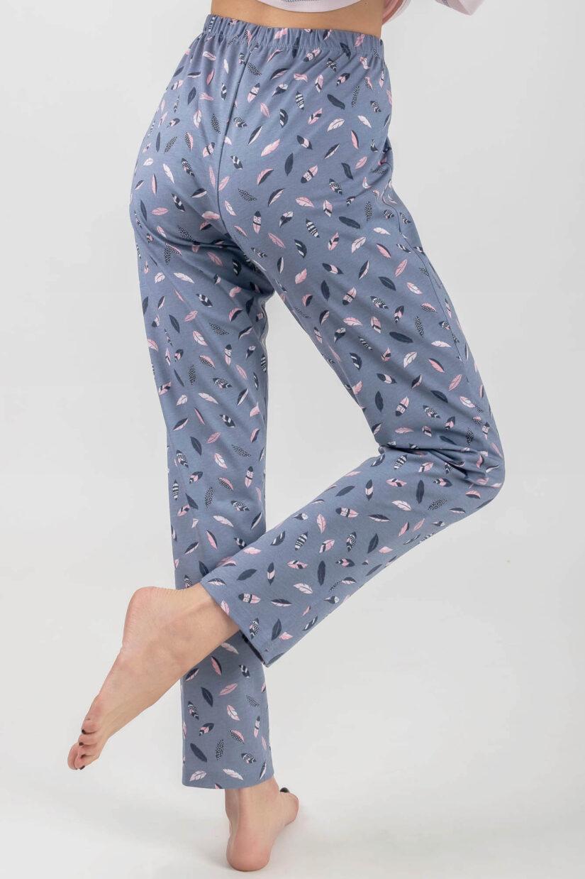 Piżama damska SOWA długi rękaw spodnie tył