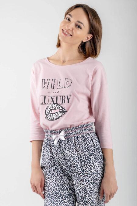 Piżama bawełniana WILD&LUXURY różowa bluzka oversize spodnie ⅞ pasek