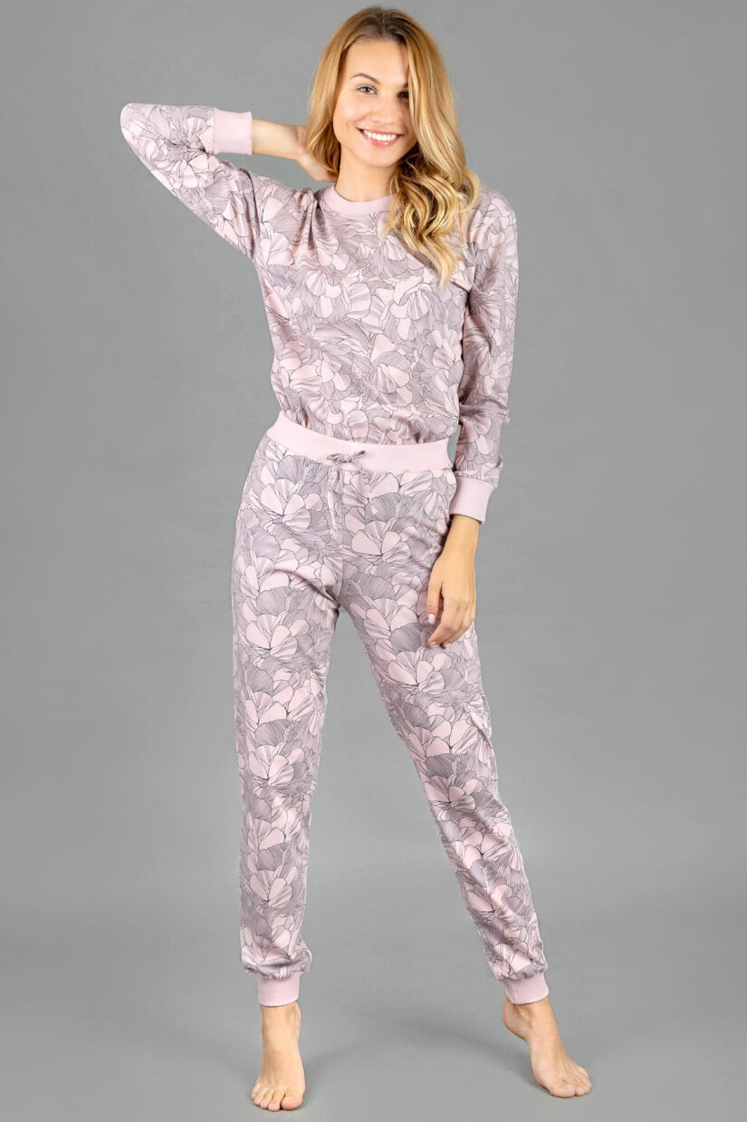 Piżama damska KWIATY LINIE spodnie i bluzka