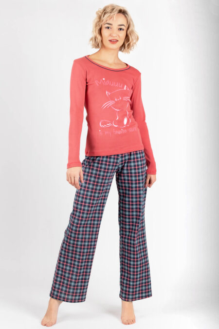 Piżama damska MIAUUU szerokie spodnie i długi rękaw