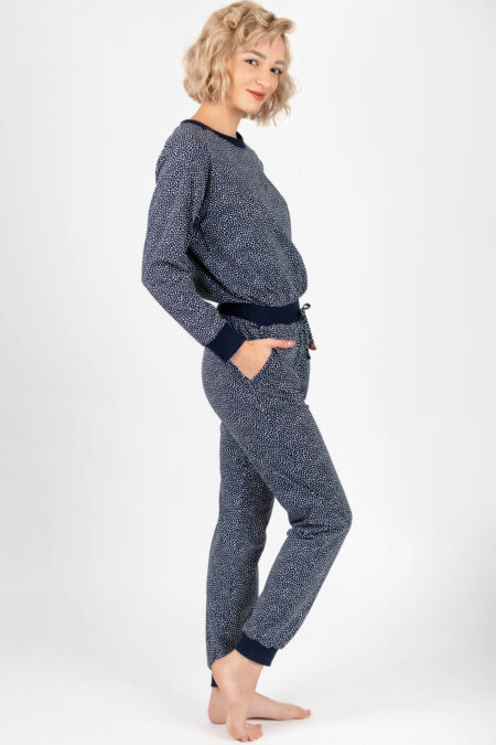 Piżama damska KROPECZKI spodnie i bluzka GRANATOWA z kieszeniami