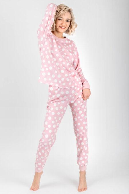 Piżama damska GROCHY spodnie i bluzka RÓŻOWA z kieszeniami